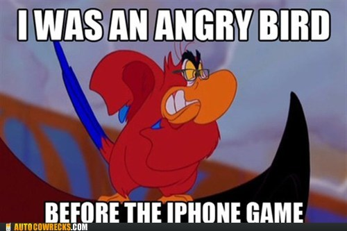 aladdin,angry birds,disney,hipster,iago,meme