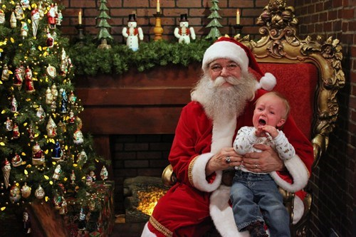 baby,christmas tree,crying,mall,santa