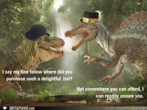 classy,dinosaurs,hats,top hat,top hats,tyrannasaurus rex