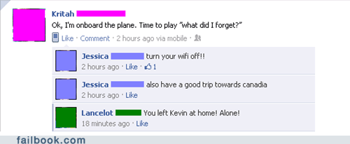 forgot something,Home Alone,plane,witty reply