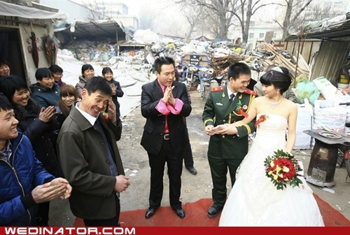bride,China,funny wedding photos,groom,junk yard