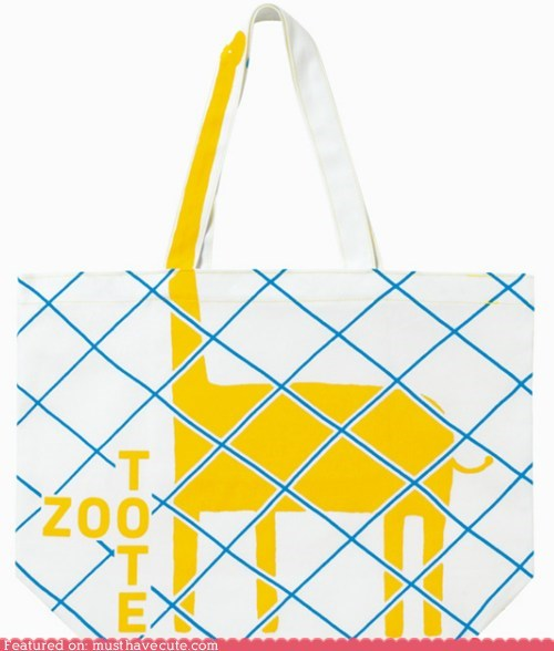 bag creative giraffes neck print tote zoo