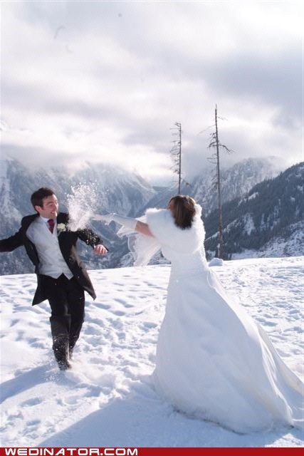 bride funny wedding photos groom snow snowball fight winter
