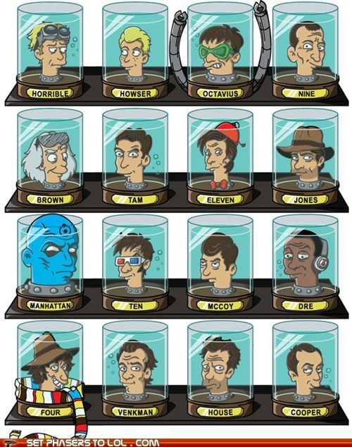 back to the future,doctor who,doctors,dr horrible,famous,Firefly,futurama,head in a jar,Spider-Man,Star Trek,watchmen