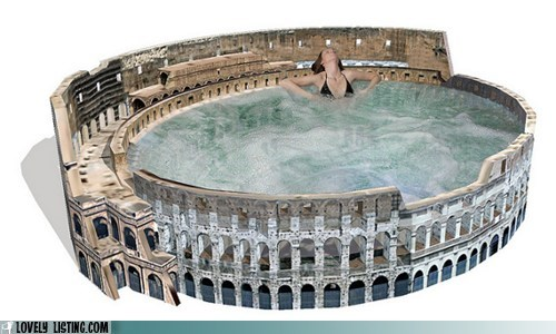 coliseum hot tub ruins stone