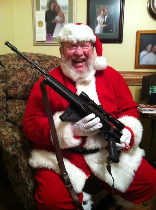 excited,gun,happy,machine gun,present,santa