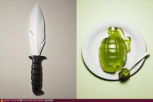 feather,guerilla,Jello,knife,wtf