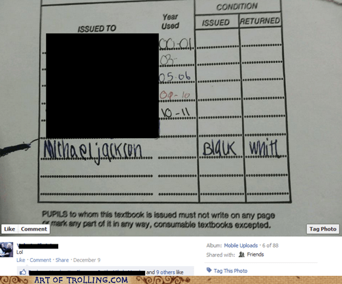 black facebook michael jackson textbook white