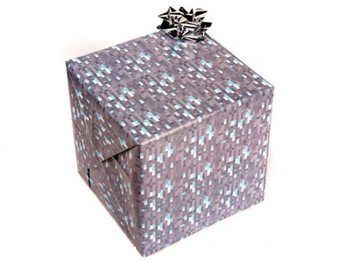 cobblestone diamond merch minecraft video games wrapping paper