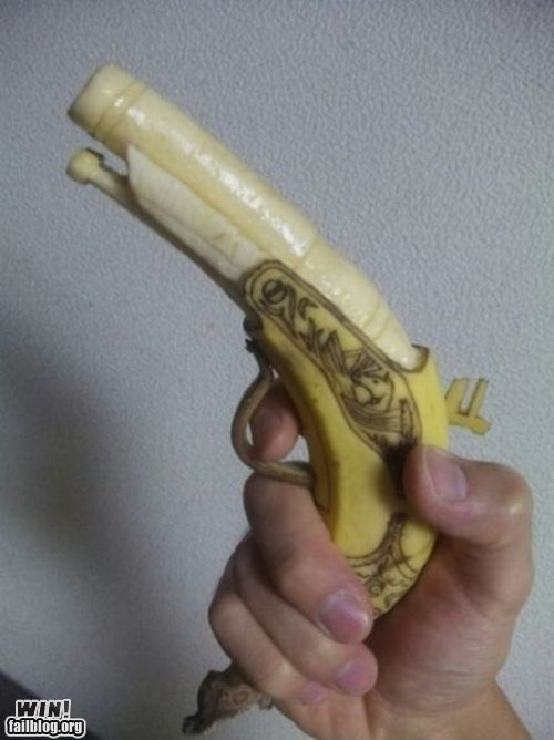 art,banana,food,g rated,gun,pistol,retro,win