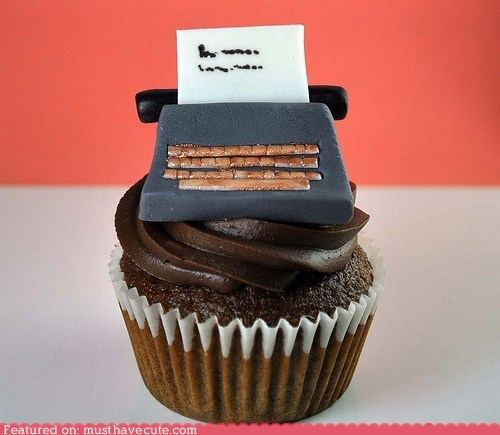 chocolate cupcake epicute fondant typewriter writing - 5596207360