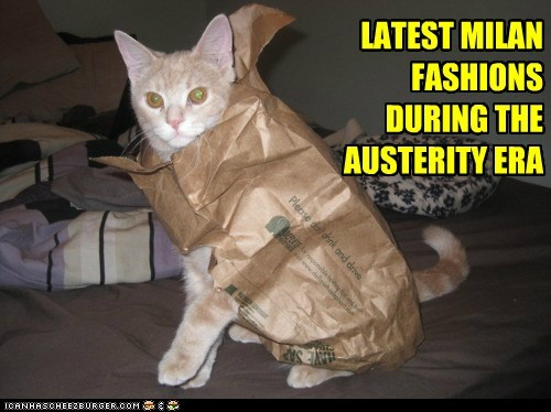 austerity bag caption captioned cat costume dressed up during era fashion fashions latest Milan - 5596837632