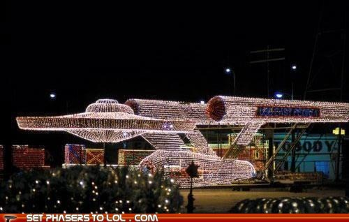 christmas,christmas lights,enterprise,Star Trek
