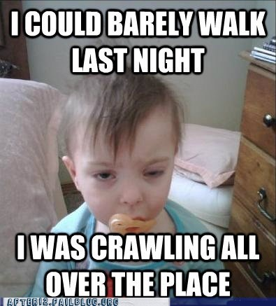 baby booze drinking hangover meme morning after tanked toddlers
