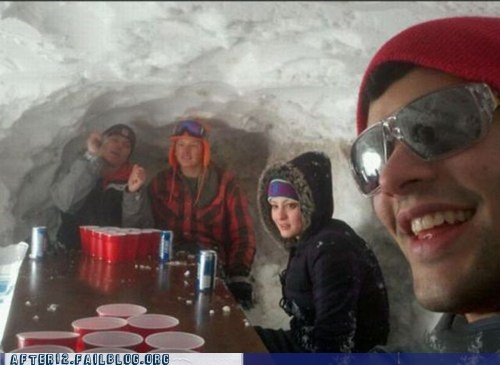 alaska beer beer pong drinking ice igloo snow winter - 5597158656