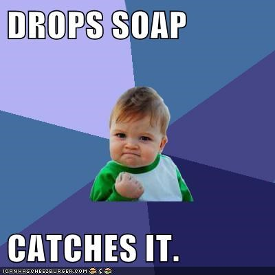 catch drop soap success kid well done