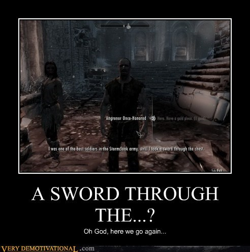 arrow,chest,hilarious,knee,Skyrim,sword