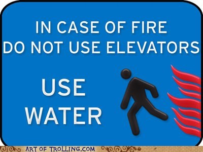 elevators fire sign water - 5598944256