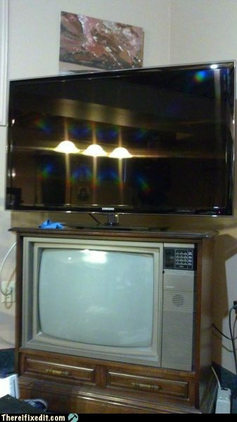 DIY flat screen g rated HDTV obsolete stand technology there I fixed it TV