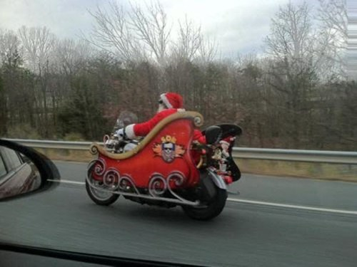 BAMF,custom,driving,motorcycle,santa,sleigh