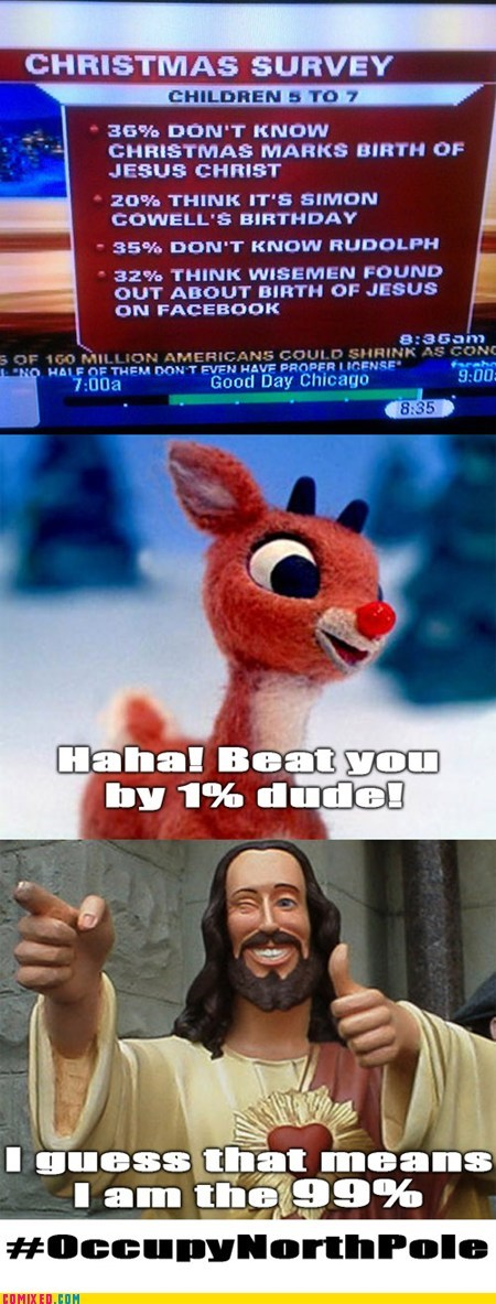 its-jesus jesus christ occupy northpole rudolph troll science We Are The 99 Percent