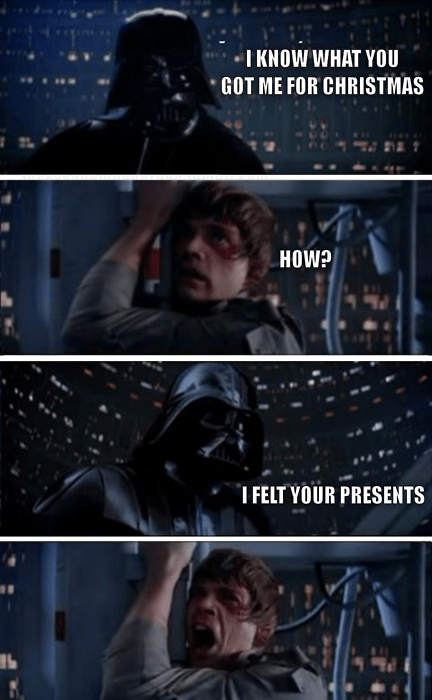 darth vader,Luke,nerdgasm,presents,star wars