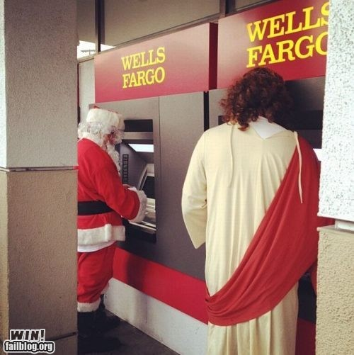 ATM bank christmas holidays jesus santa withdrawal