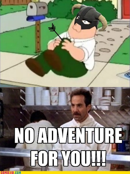adventure,arrow to the knee,family guy,seinfeld,the internets
