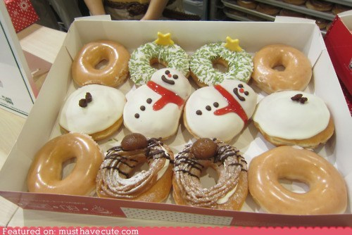 christmas,donuts,epicute,krispy kreme,snowmen,winter,wreath