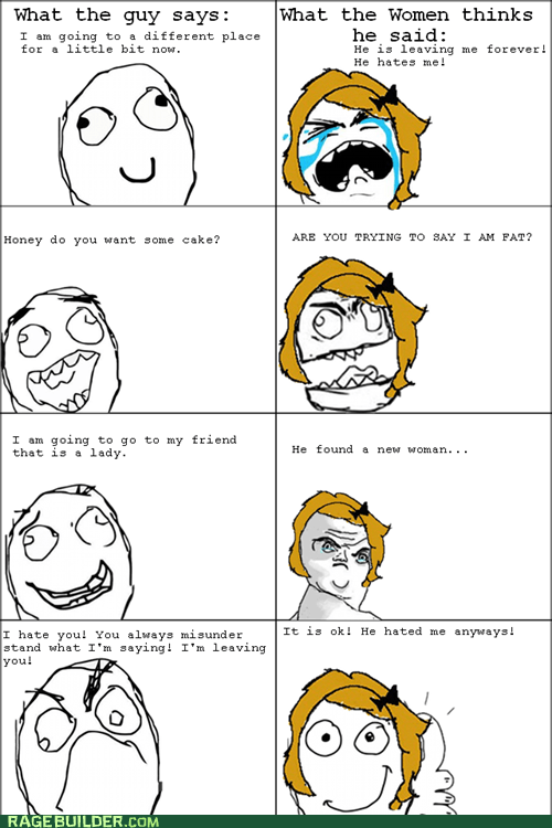 leaving,men vs women,Rage Comics,says,thinks