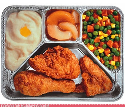fried chicken,magnet,mashed potatoes,pears,TV dinner,veggie mix
