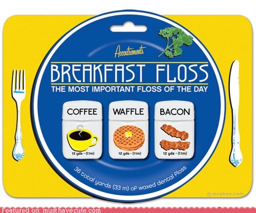 bacon breakfast coffee dental floss flavored waffle - 5602525440