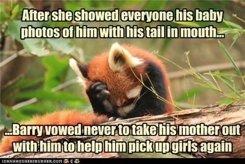 After she showed everyone his baby photos of him with his tail in mouth... ...Barry vowed never to take his mother out with him to help him pick up girls again