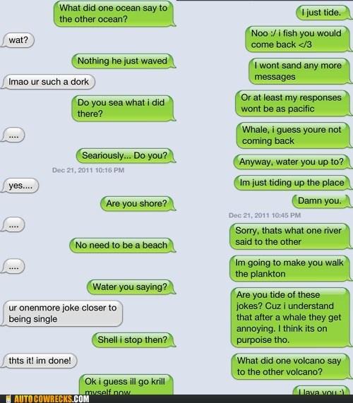 AutocoWrecks bad jokes g rated Hall of Fame joke mobile phones ocean pun puns sea texting - 5603724544