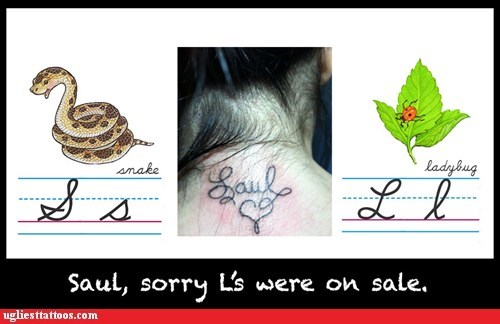 laul,not an S,sale on letters,saul,wrong cursive
