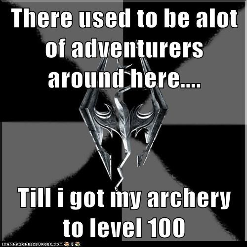adventurers,archery,arrow,Memes,Skyrim,video games