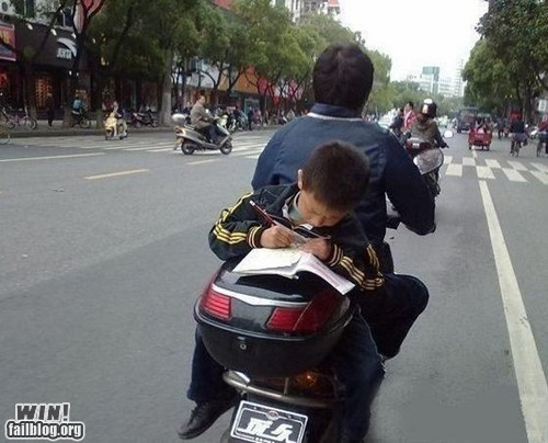 driving motorcycle Multitasking oh asia studying test