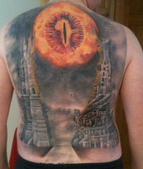 back tattoo,books,Eye of Sauron,Lord of the Rings,movies,tattoo,wtf
