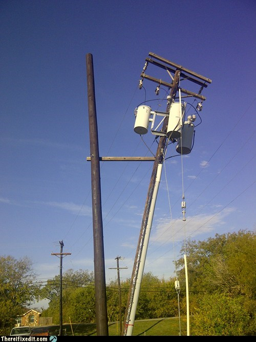 2x4 leaning support telephone pole - 5604537600