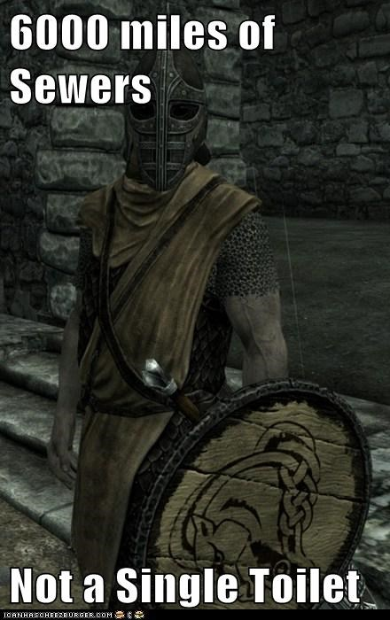 guard,sewers,Skyrim,toilet,whiterun