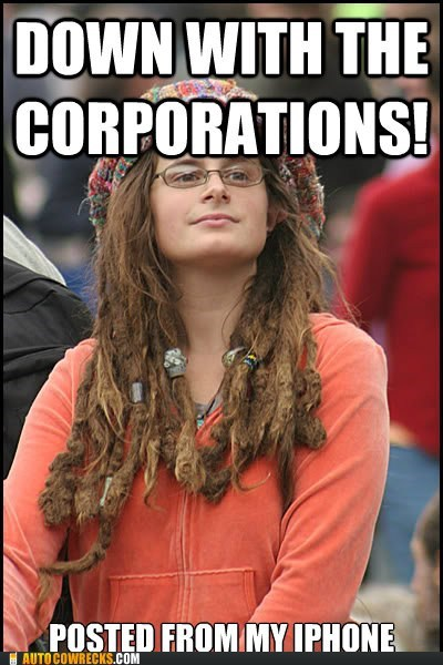 corporations,hippie,hippies,iphone,meme,protestor
