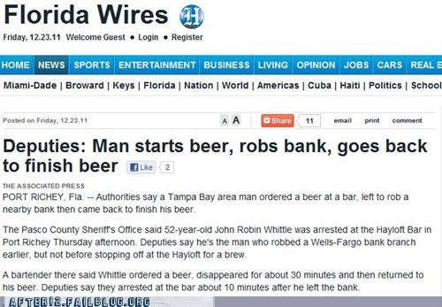 bank robber beer booze news robbery - 5604754176