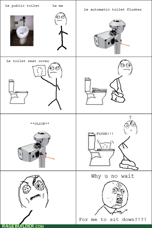 automatic flusher,pooptimes,Rage Comics,toilet,Y U NO