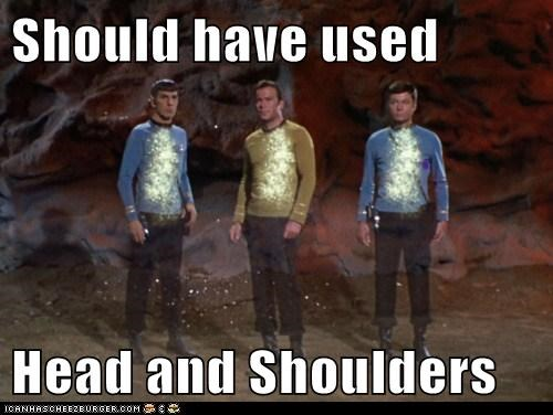 Captain Kirk,dandruff,DeForest Kelley,head and shoulders,Leonard Nimoy,McCoy,Shatnerday,Spock,Star Trek,William Shatner