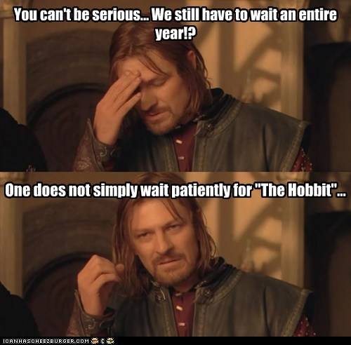 "You can't be serious... We still have to wait an entire year!? One does not simply wait patiently for ""The Hobbit""..."