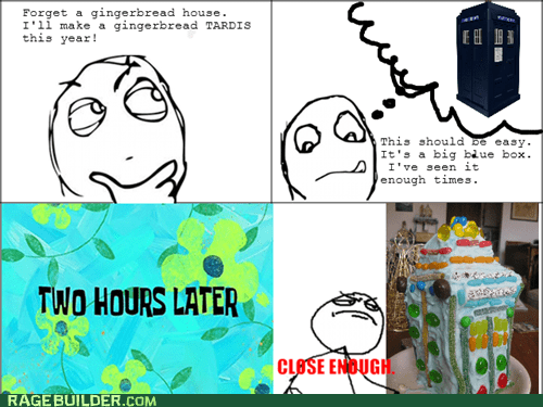 doctor who,gingerbread house,Rage Comics,tardis
