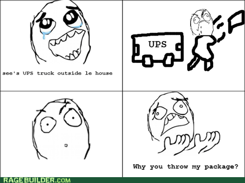 package,Rage Comics,thrown,UPS