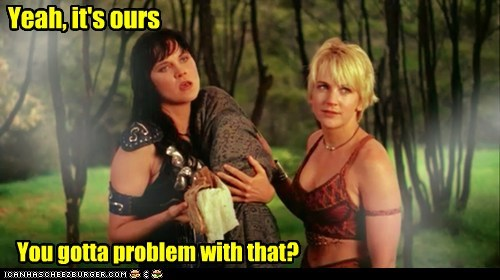 baby,gabrielle,Lucy Lawless,ours,problem,renee oconnor,Xena,Xena Warrior Princess