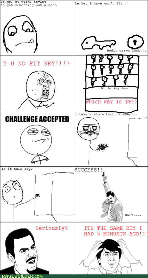 Challenge Accepted key Rage Comics Y U NO