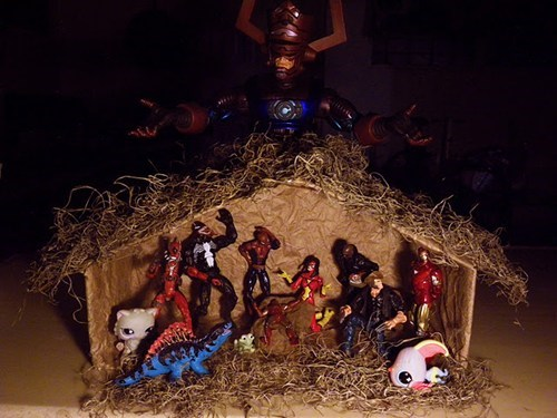 galactus,marvel comics,Nativity,nerdgasm,super heroes,toys